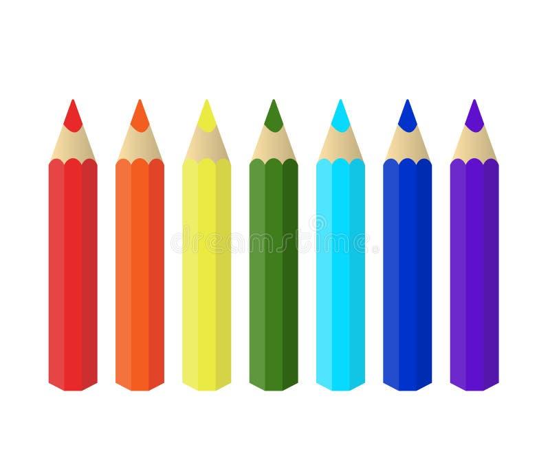 Varicolored kolorów ołówki ustawiają odosobnionego na białym tle tęcza klamerki lubią biurowe zupne dostawy ilustracji