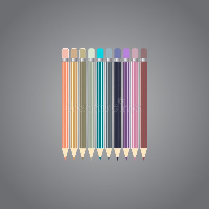 Varicolored kolorów ołówki ustawiają odosobnionego na szarym tle klamerki lubią biurowe zupne dostawy ilustracji