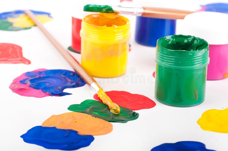 Download Varicoloured Paints And Brushes Stock Image - Image of childhood, liquid: 25913451