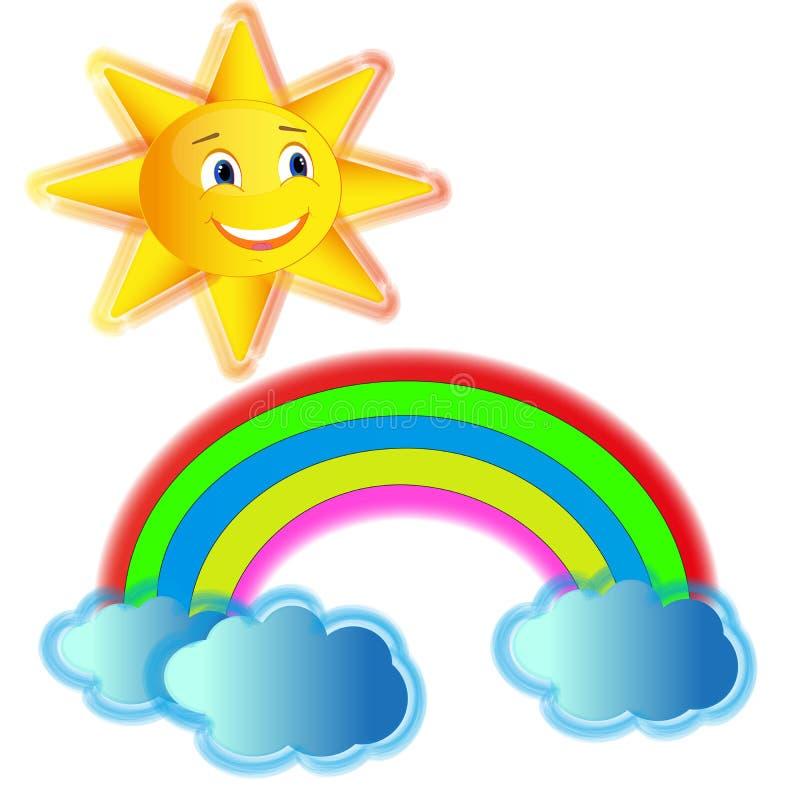 Varicolouredregenboog met wolken en gele vrolijke zon royalty-vrije stock foto