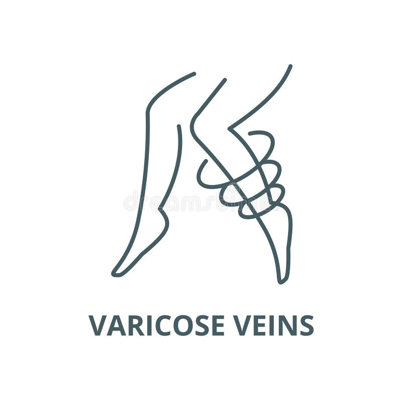 Varicose veins vector line icon, linear concept, outline sign, symbol. Varicose veins vector line icon, outline concept, linear sign vector illustration