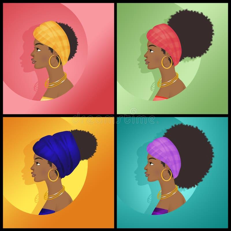 Varie acconciature della donna di afro illustrazione di stock