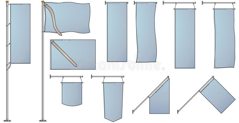 Varie bandierine e bandiere royalty illustrazione gratis