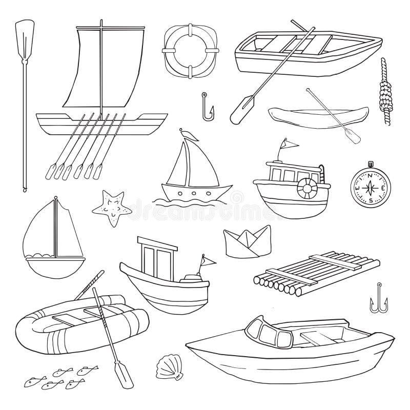 Varie barche illustrazione di stock