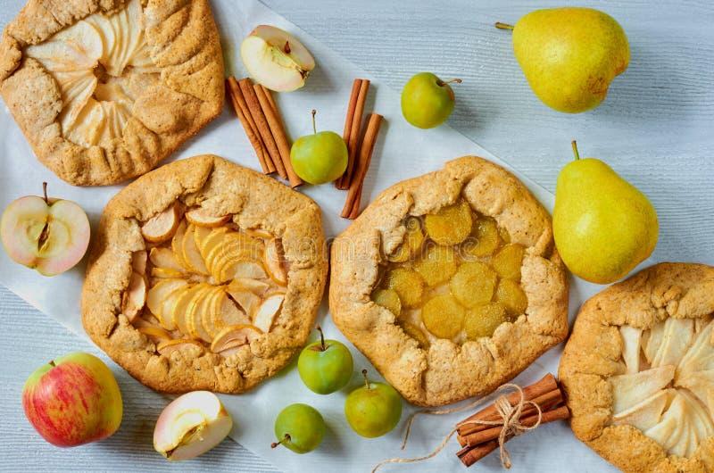 Varie crostate di frutti decorate con i bastoni di cannella sui precedenti concreti grigi Galette sano vegetariano con le mele fr immagini stock