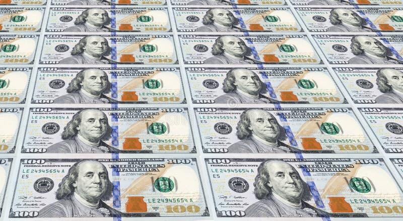 Varie delle banconote in dollari recentemente progettate degli Stati Uniti cento. fotografia stock libera da diritti