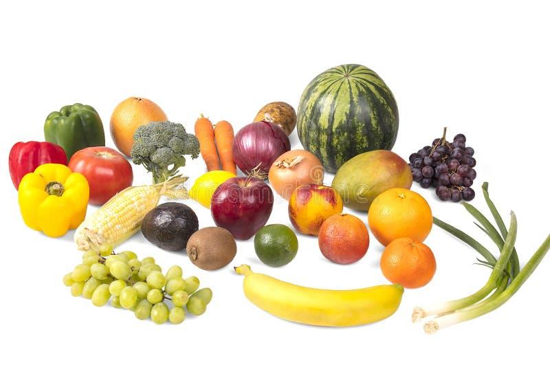 varie frutta e verdure su un fondo bianco immagini stock