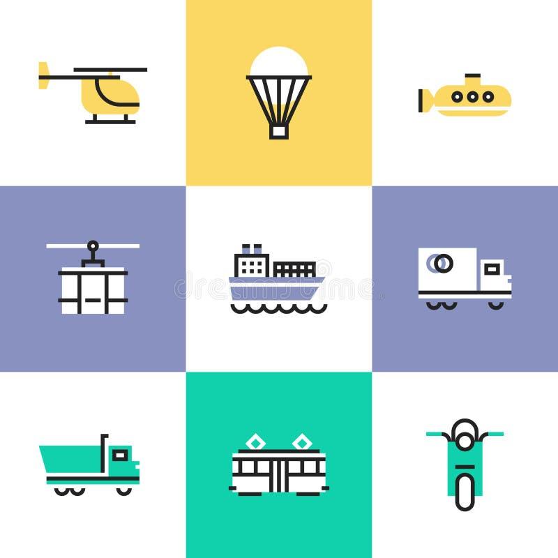 Varie icone del pittogramma del trasporto messe illustrazione vettoriale