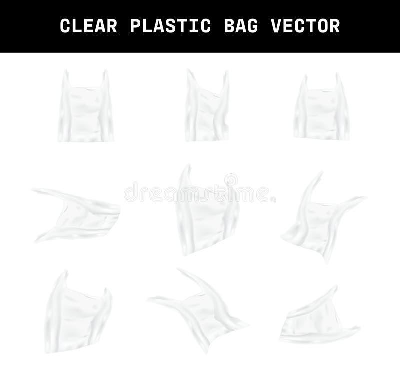 Varie la forme d'un vecteur clair réaliste de sachet en plastique, conception d'élément que l'effet des déchets environnement illustration stock