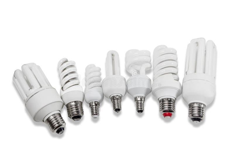 Varie lampade fluorescenti economizzarici d energia immagine stock