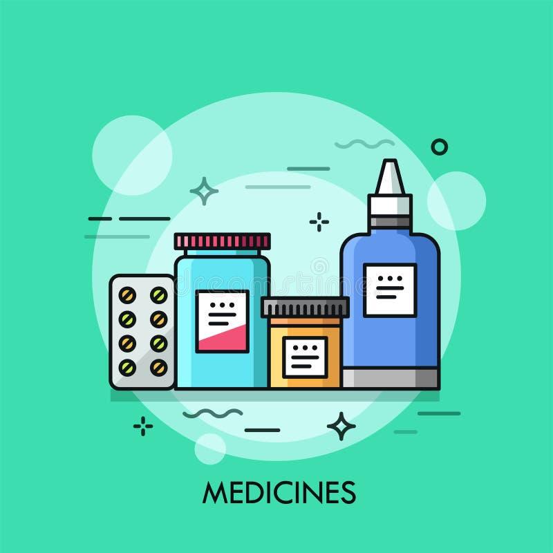 Varie medicine - pillole in bolla, spray nasale, droghe in barattoli illustrazione vettoriale