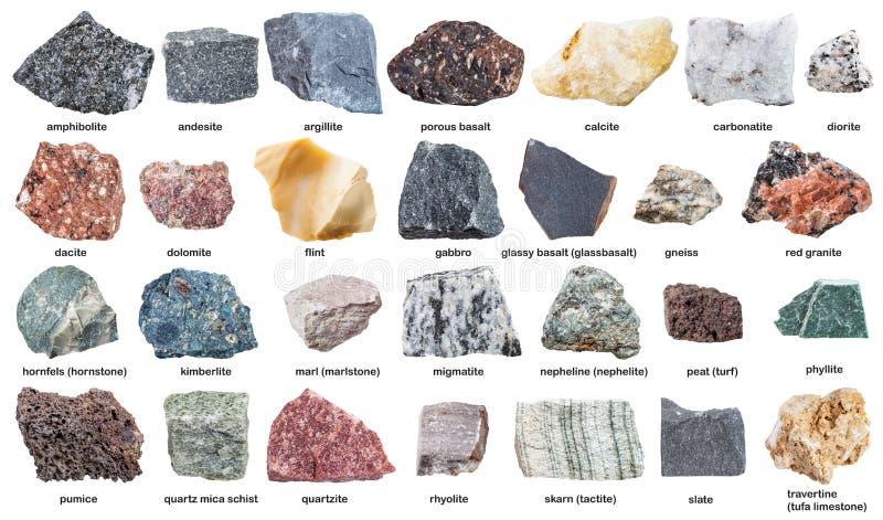 Varie pietre crude con i nomi isolate su bianco fotografie stock