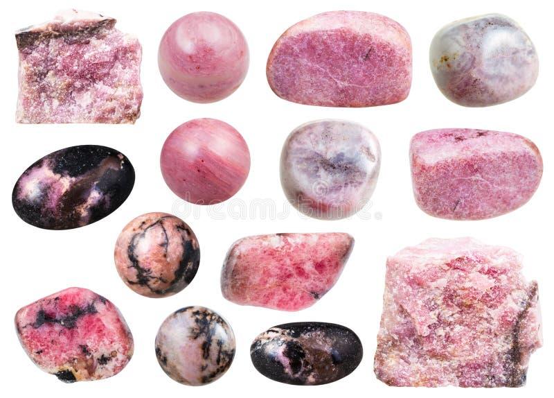 Varie pietre preziose minerali naturali del rhodochrosite immagini stock libere da diritti