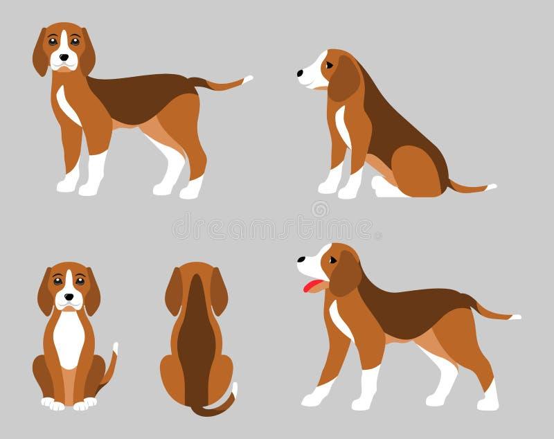 Varie pose del cane da lepre del cane, stile piano semplice illustrazione vettoriale