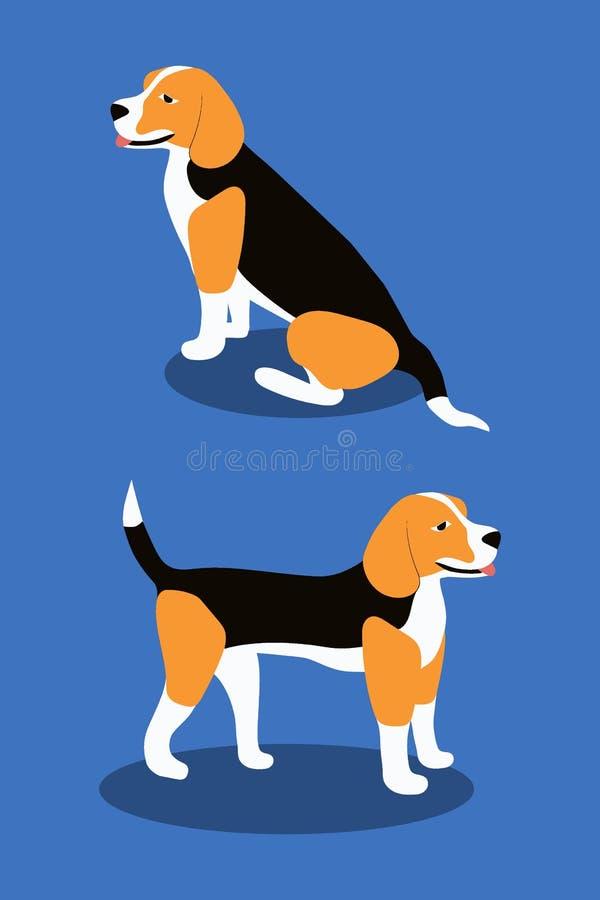 Varie pose del cane da lepre del cane, stile piano semplice - vettore dell'illustrazione illustrazione vettoriale