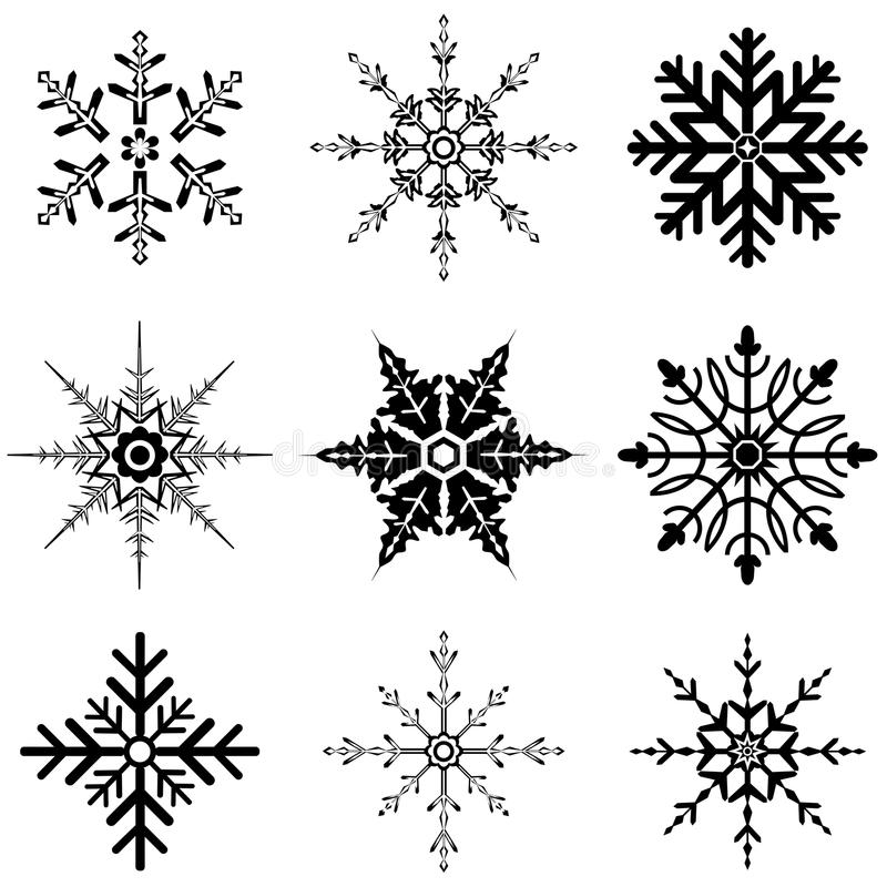 Varie progettazioni del fiocco di neve per le feste illustrazione di stock