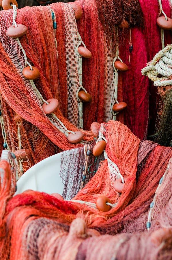 Varie reti da pesca rosse fotografia stock libera da diritti