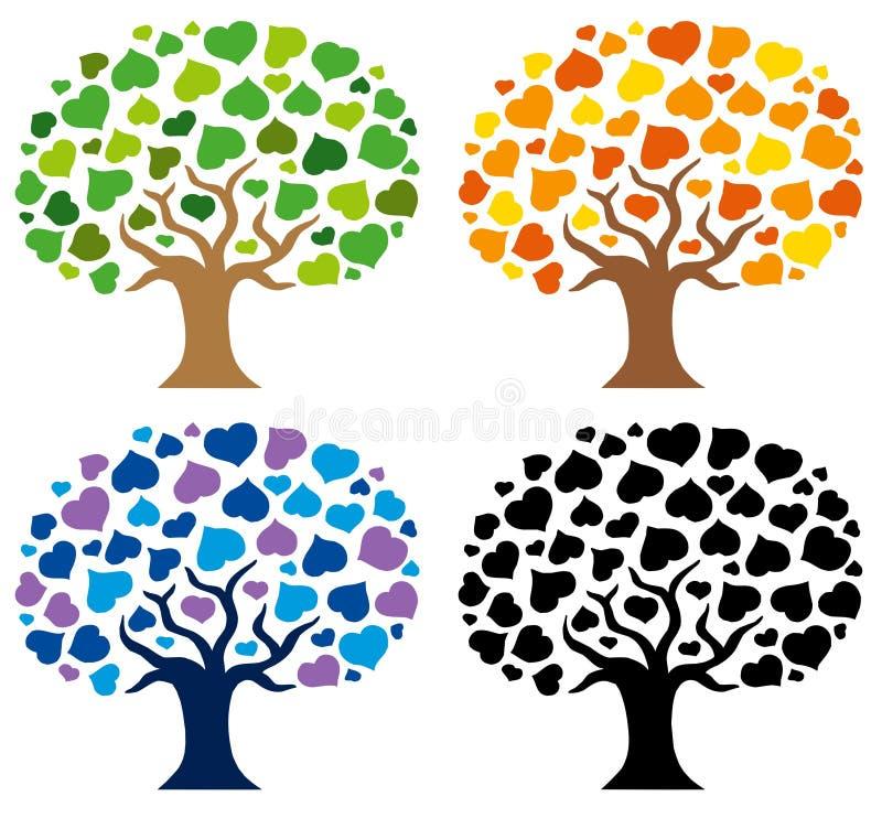 Varie siluette degli alberi illustrazione vettoriale