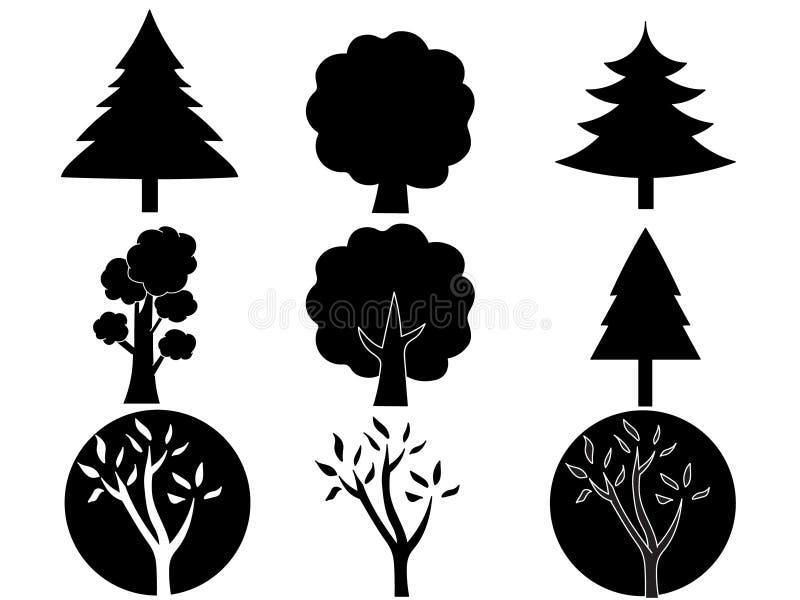 Varie siluette disegnate a mano degli alberi royalty illustrazione gratis