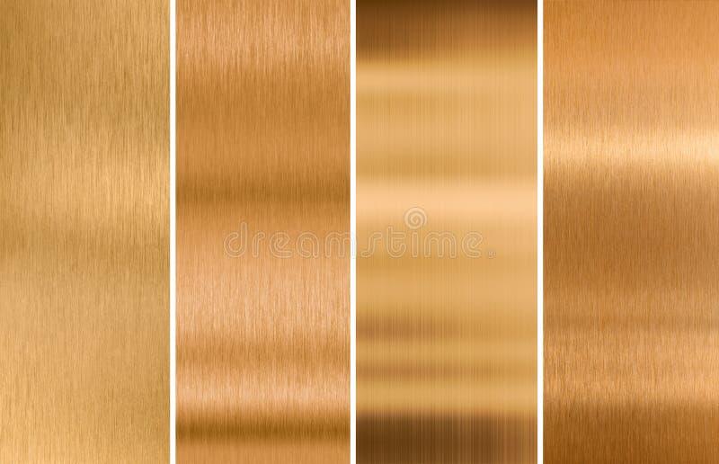 Varie strutture bronzee spazzolate del metallo fissate fotografia stock