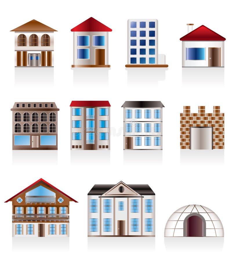 Varie varianti delle case e delle costruzioni illustrazione di stock