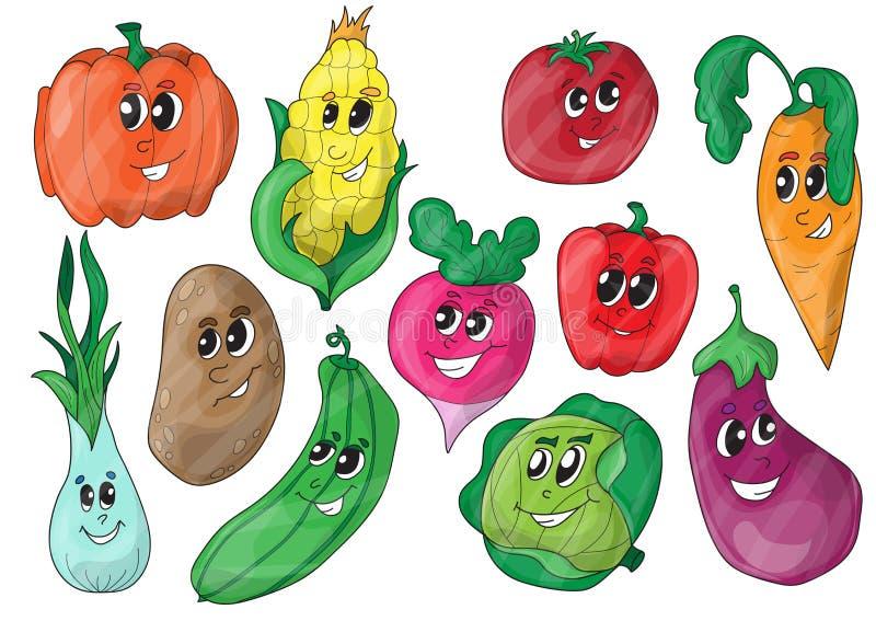 Varie verdure divertenti del fumetto illustrazione vettoriale