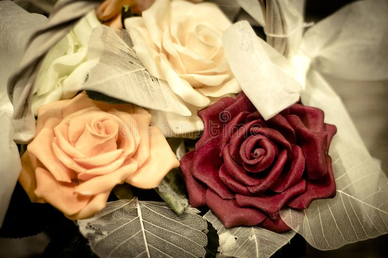 Varied flowers of colors for wedding decoration. No people royalty free stock photography