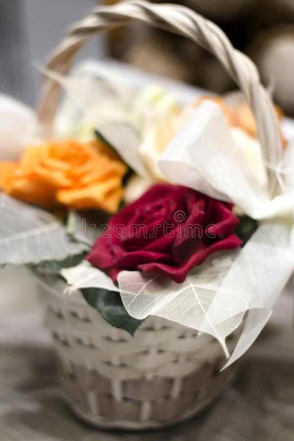Varied flowers of colors for wedding decoration. No people stock images
