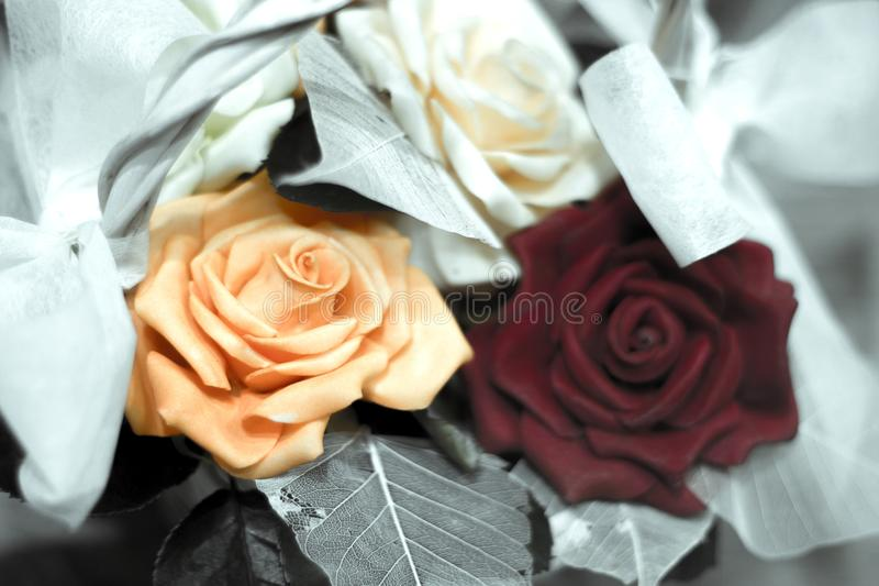 Varied flowers of colors for wedding decoration. No people stock image