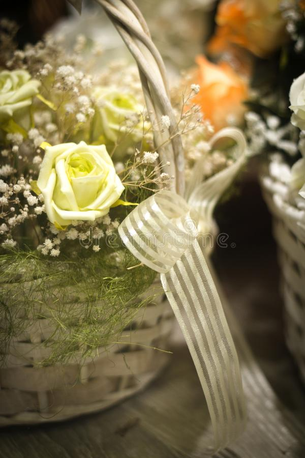 Varied flowers of colors for wedding decoration. No people royalty free stock image