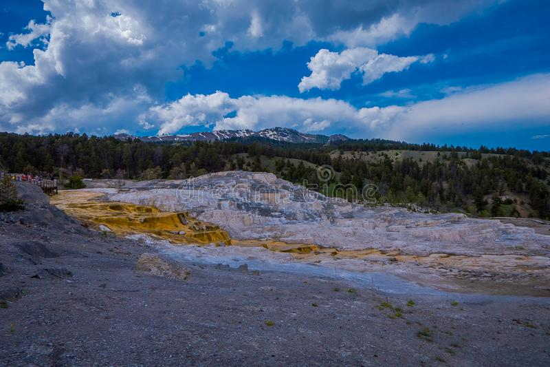 Varied Hot Spring Thermal Colors - Mammoth Hot Springs is Yellowstone s only major thermal area located well outside the. Caldera. The terraces change stock image