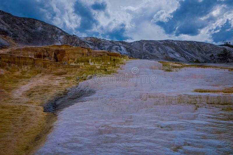 Varied Hot Spring Thermal Colors - Mammoth Hot Springs is Yellowstone s only major thermal area located well outside the. Caldera. The terraces change stock photo