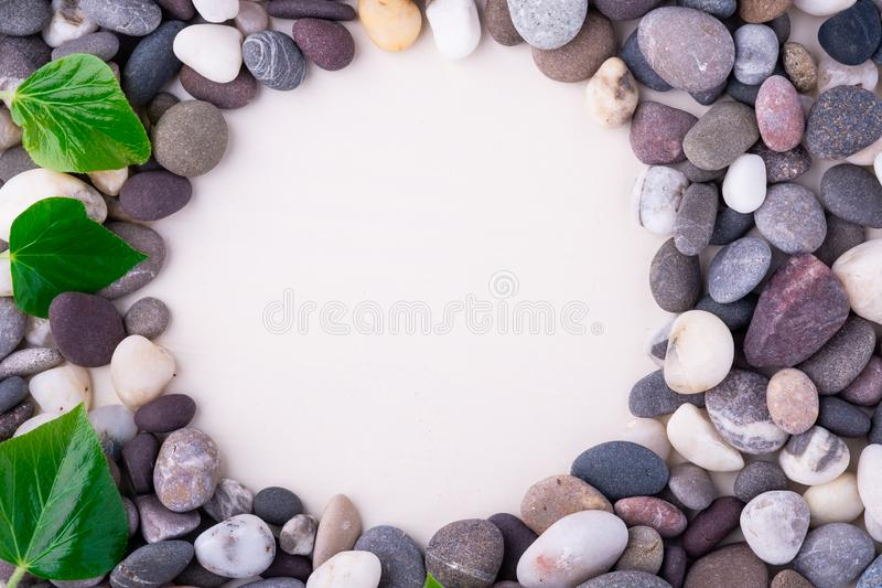 Varied pebbles on white background top view rounded frame with green leaves royalty free stock image