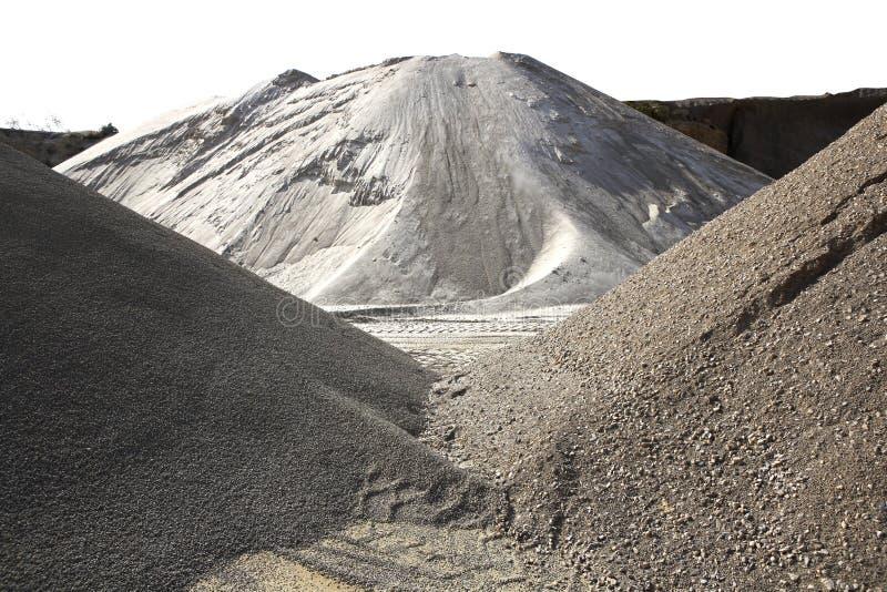 Variedad colorida de la mina del montón de la arena de la construcción fotos de archivo libres de regalías
