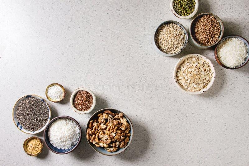 Variedad de granos imagen de archivo libre de regalías