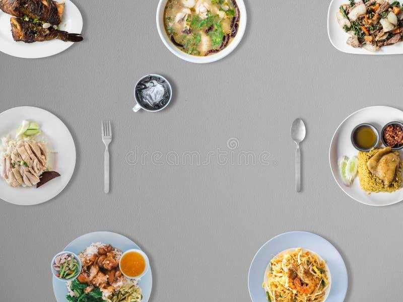 Variedad de platos tailandeses de la tradición fotos de archivo libres de regalías