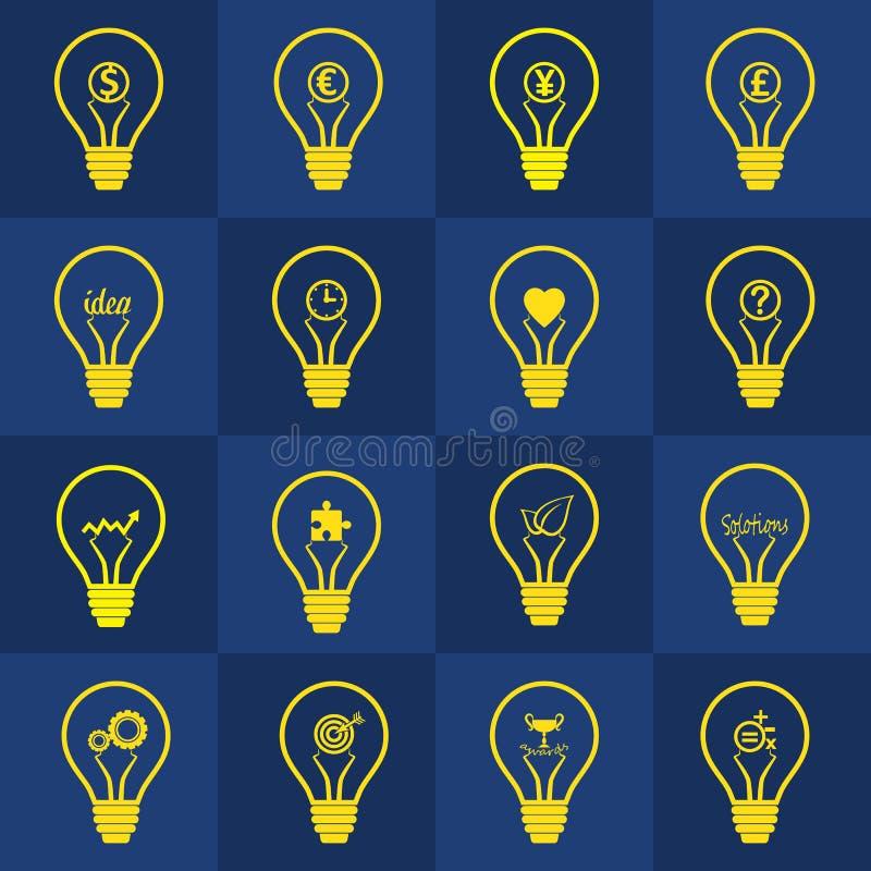 Variedad de sistema de la bombilla de la idea del negocio stock de ilustración