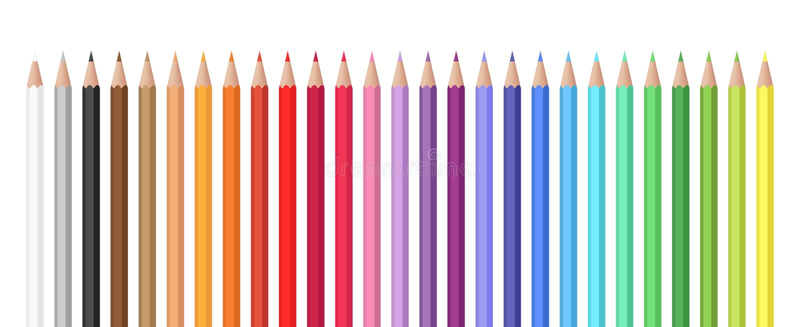 Variedad de sistema del vector de los colores de lápices coloreados ilustración del vector