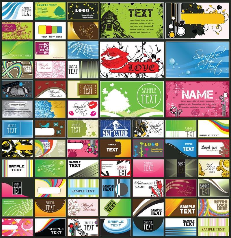 Variedad de tarjetas de visita detalladas stock de ilustración