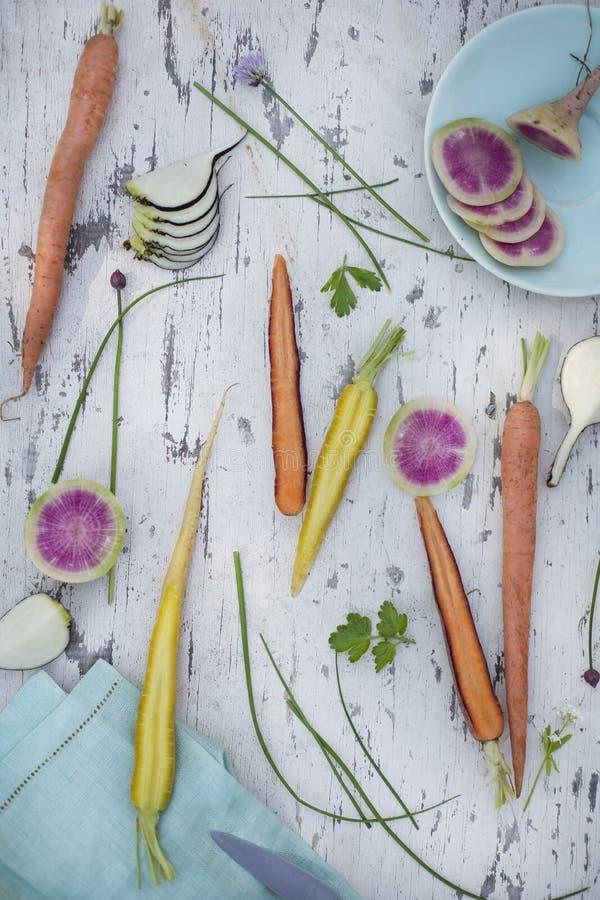 Variedad de verduras crudas de la primavera imagen de archivo libre de regalías