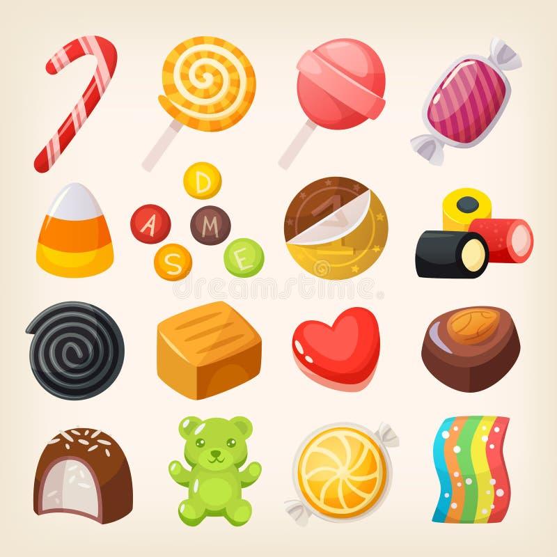 Variedad dulce de los caramelos ilustración del vector