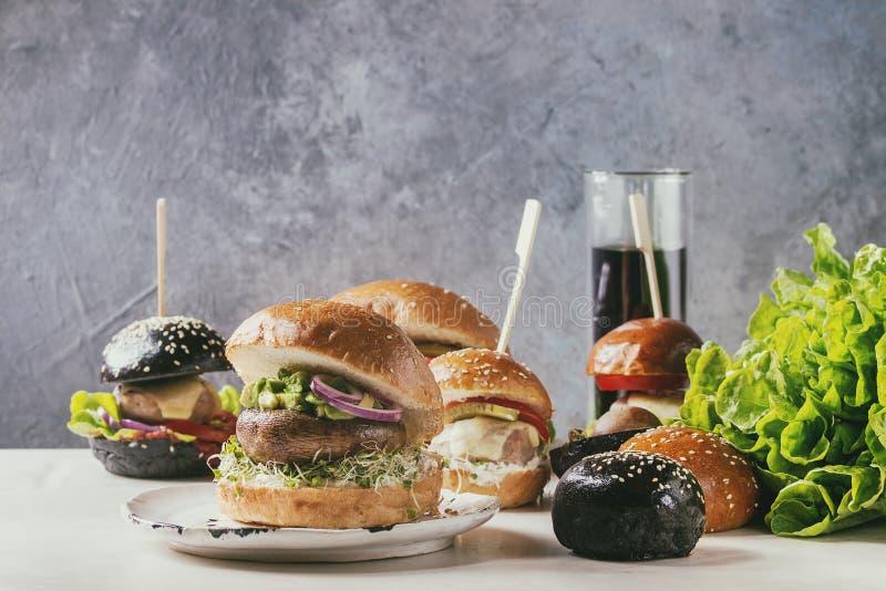 Variedad hecha en casa de las hamburguesas fotografía de archivo