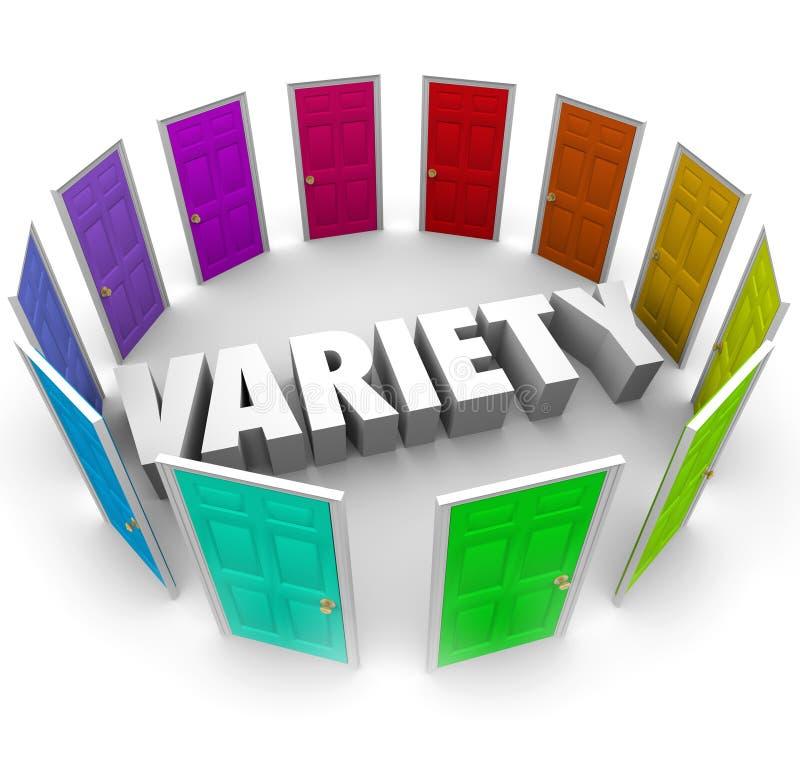 Variedad muchas diversas opciones de las puertas para elegir las trayectorias de Alernative ilustración del vector