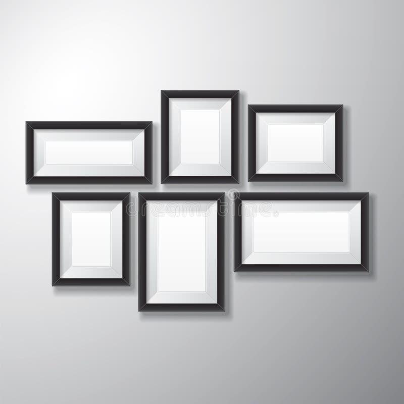 Variedad negra de los marcos ilustración del vector