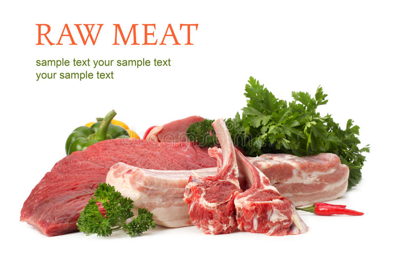 Variedade da carne crua