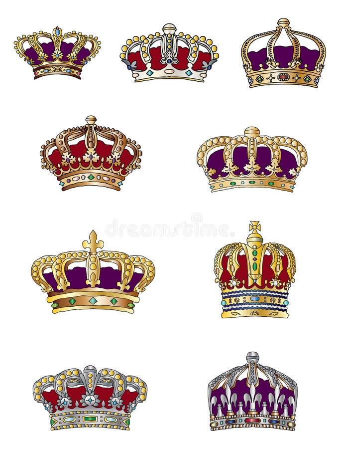 Variedade da coroa ilustração do vetor