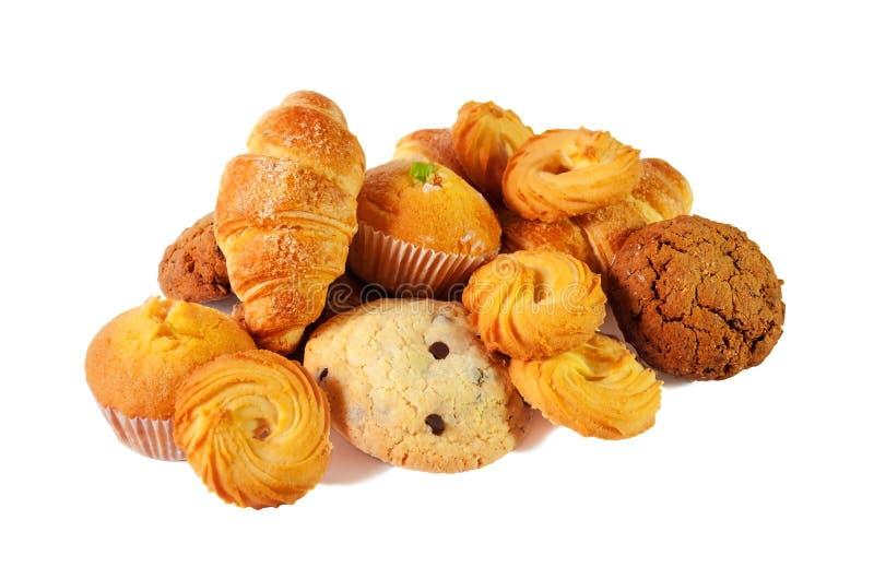 Variedade das pastelarias e das cookies Foco seletivo foto de stock