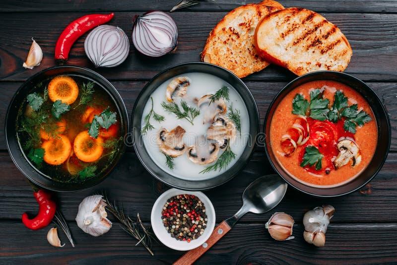 Variedade das sopas de creme e dos ingredientes dos vegetais coloridos para s imagens de stock