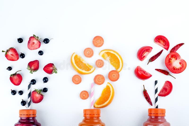 Variedade de batidos das frutas e legumes fotografia de stock royalty free