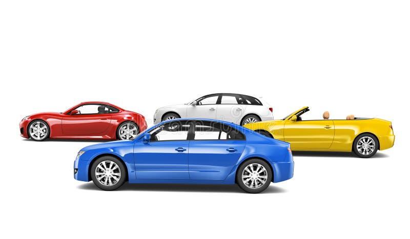 Variedade de coleção do carro isolada no branco imagem de stock royalty free